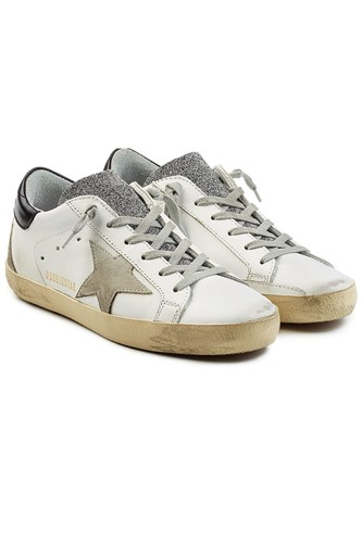 Golden Goose Deluxe Brand Super Star Leather Sneakers With Swarovski Crystals White L7aii