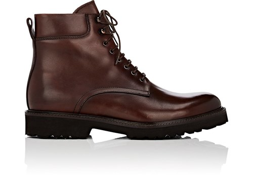 Barneys New York Men's Lug Sole Leather Boots Dark Brown Brown tLBAgs0