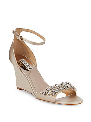 Badgley Mischka Tyra Embellished Satin Ankle Strap Sandals Nude 9xG5p