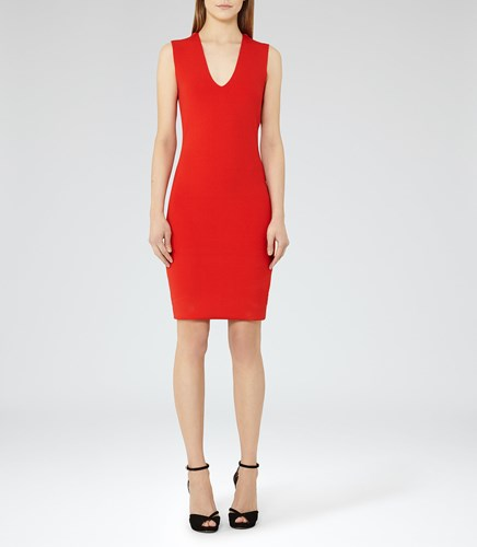 Reiss Elspeth Womens Knitted Cowl Neck Dress In Red NYK01T