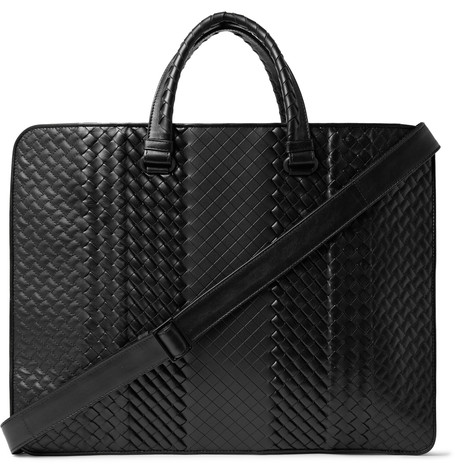 Bottega Veneta Intrecciato Leather Briefcase Black Y2Wc9Ja
