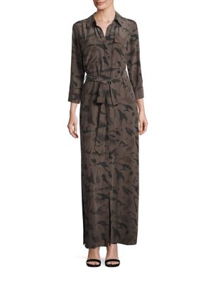 L'Agence Camo Silk Shirtdress Camo Multi Fj6XFBW