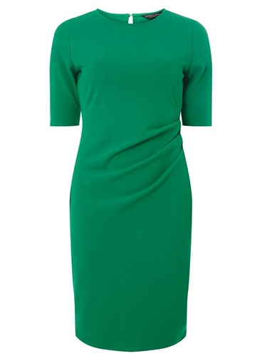Dorothy Perkins Green Ruched Side Bodycon Dress 3WT5o
