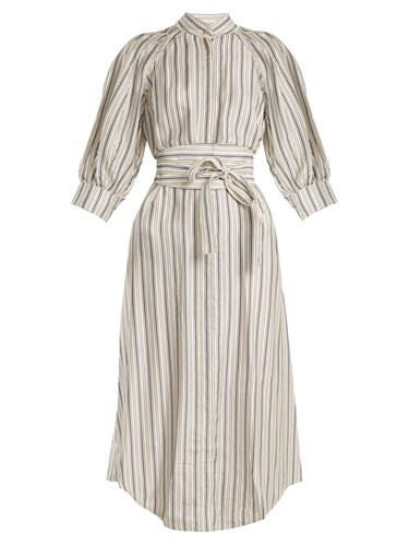 Zimmermann Painted Heart Striped Satin Twill Shirtdress Grey Multi xwsOa8Vl