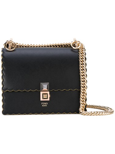 Fendi Kan I Scalloped Shoulder Bag Black NP9iLwK