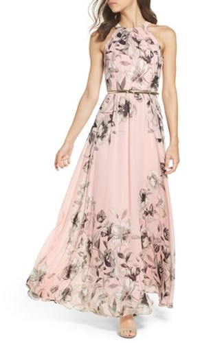 Belted Chiffon Dress Maxi Multi Pink Eliza J Pw4xTT
