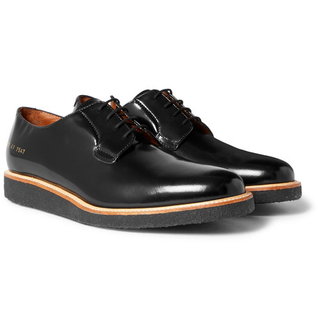 Common Projects Polished Leather Derby Shoes Black 93DCBZepV