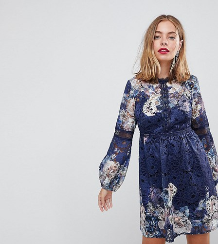 Little Mistress Petite All Over Lace Skater Dress In Navy Floral Print Navy Multi ioCfBzKQ1