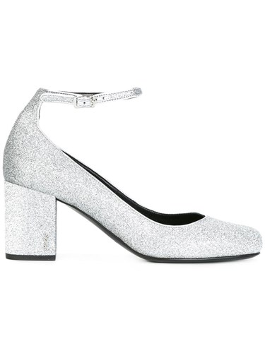 Saint Laurent Babies 90 Ankle Strap Pumps Metallic ivlwgomSF