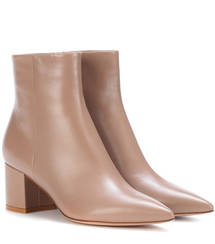 Gianvito Rossi Piper 60 Leather Ankle Boots Beige 0IgCziaC