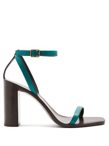 Saint Laurent Loulou Wood And Leather Sandals Dark Green D4PWOyQLgT