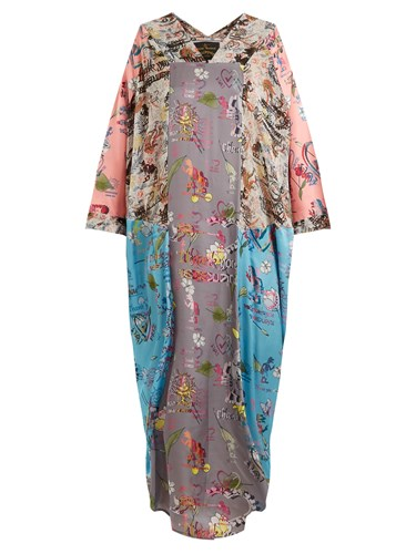 Vivienne Westwood Musa Abstract Print Draped Dress Pink Multi Ojw0ZXq25