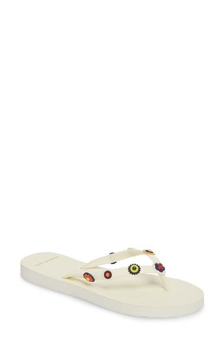 Tory Burch Marguerite 2 Studded Flip Flop Perfect Ivory PuShT