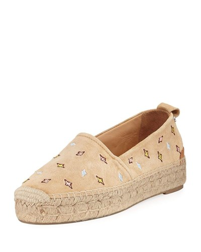 Rag and Bone Adria Embroidered Slip On Espadrille Flat Camel Wh7ACFl5G