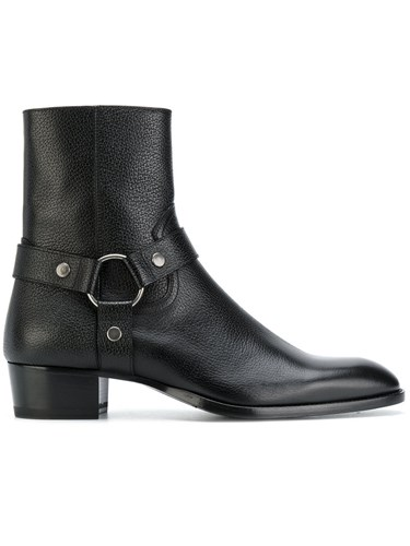 Saint Laurent Wyatt 40 Harness Boots Men Leather 42.5 Black oG5G44e