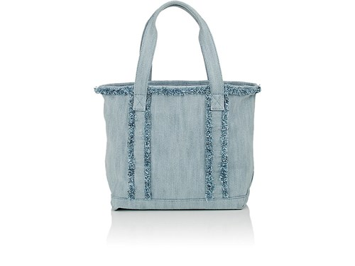 Barneys New York Women's Frayed Small Tote Bag Light Blue vLx2k