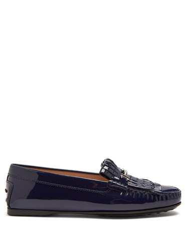 Tod's Gommino Fringed Patent Leather Loafers Navy YSDwe