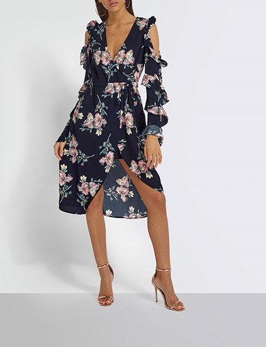 Missguided Floral Print Cold Shoulder Woven Wrap Dress Multi tFyD8kD
