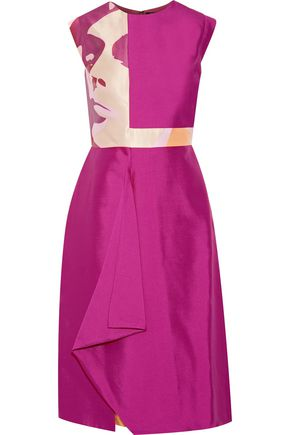 Raoul Raine Color Block Wool And Silk Blend Satin Mini Dress Fuchsia AMcXDmKUr