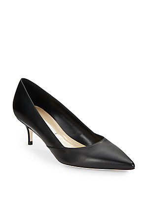 Saks Fifth Avenue Made In Italy Marcie Leather Kitten Heel Pumps vOsRhH