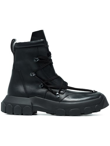 Rick Owens Adidas By Black Hike Leather Lace Up Boots d9UFM