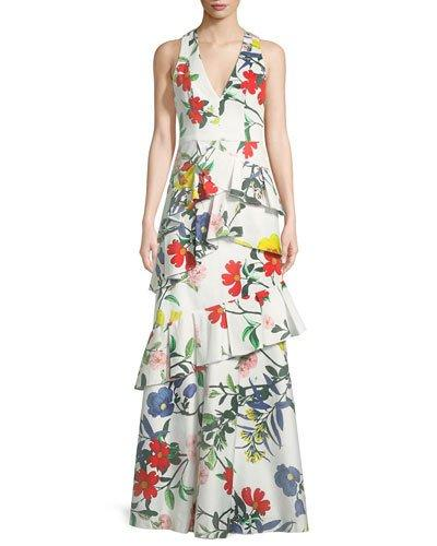 Alice + Olivia Flossie Sleeveless Deep V Floral Print Ruffled Tiered Gown Multi Pattern 2hY50
