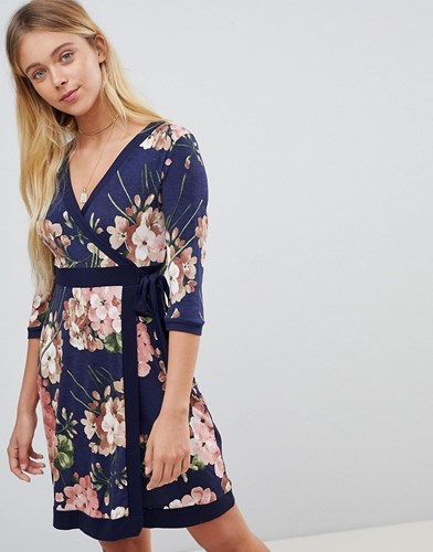 Gilli Floral Printwrap Front Skater Dress With Tie Belt Navy a7SUYwWq