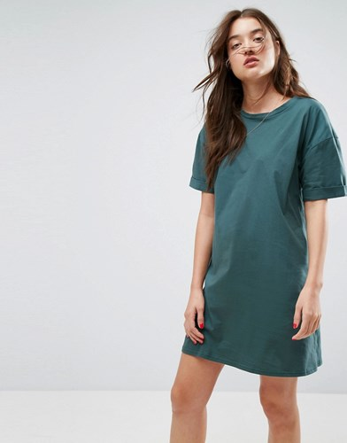 Asos Ultimate T Shirt Dress With Rolled Sleeves Green rAIJo66