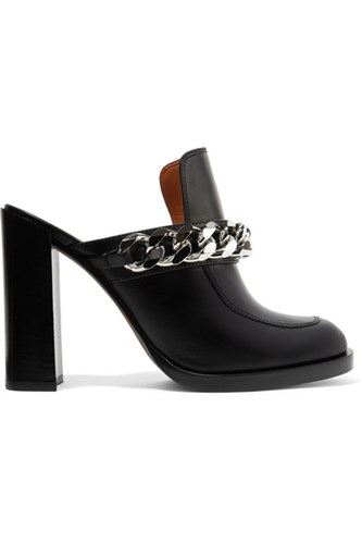 Givenchy Chain Trimmed Leather Mules Black Usd 4JHweba4