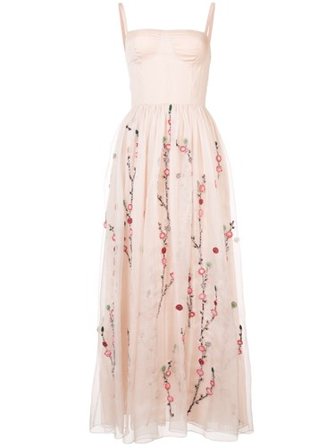 ADAM by Adam Lippes Floral Embroidery Sheer Dress Pink And Purple t8Akqw
