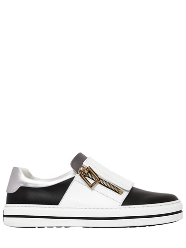 Roger Vivier 20Mm Sneaky Viv Zip Up Leather Sneakers 6uUQnb