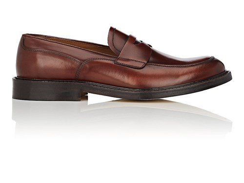 Barneys New York Burnished Leather Penny Loafers Brown bWxkK57