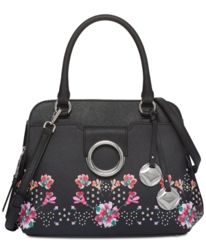 Calvin Klein Floral Small Top Handle Satchel Black Floral AO0nfYkPqu