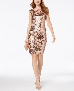 Vince Camuto Floral Sequined Dress Rose Gold AV1Wo0H24