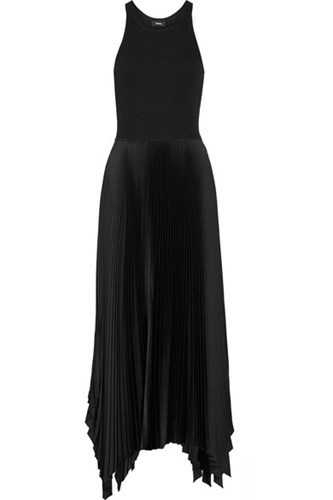 Theory Vinessi Ribbed Stretch Knit And Pleated Satin Maxi Dress Black 5QgMhEY