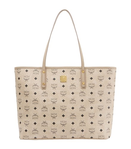 MCM Medium Anya Zip Top Shopper Beige 6cX0ktf