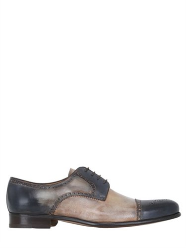 FRANCESCO BENIGNO Hand Painted Brogue Derby Lace Up Shoes O0Fzee