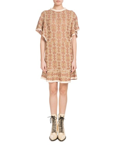 Dress Short Jacquard Brown Short Pattern Woven Knit Chloé Crewneck Sleeve w0qqI
