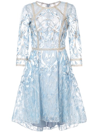 Marchesa Notte Floral Embroidered Mesh Dress Blue 2aOVkI1