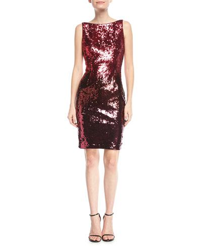 Aidan Mattox Sequin Bateau Neck Cocktail Dress Red Multi SYZtgd