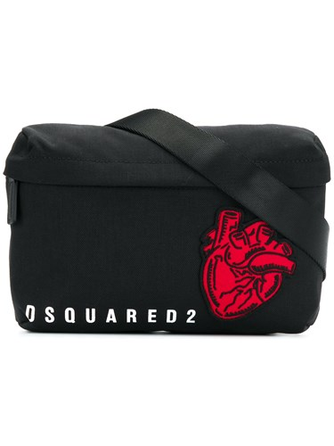 DSquared Dsquared2 Heart Patch Crossbody Bag Black LuVAIX