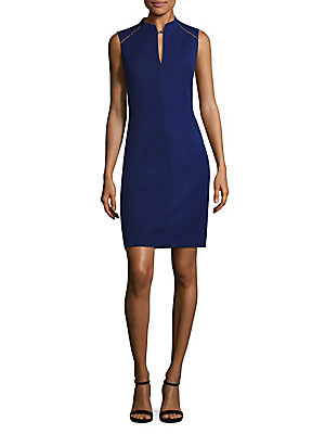 Elie Tahari Bead Detailed Sheath Dress Regal 056oE