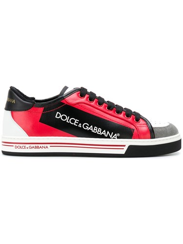 Dolce & Gabbana Block Panel Lace Up Sneakers Cotton Polyurethane Calf Leather Rubber Red XRnL8AdU