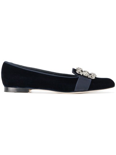 Manolo Blahnik Blue Velvet Marria Buckle Flat Pumps Leather Velvet PMEeE