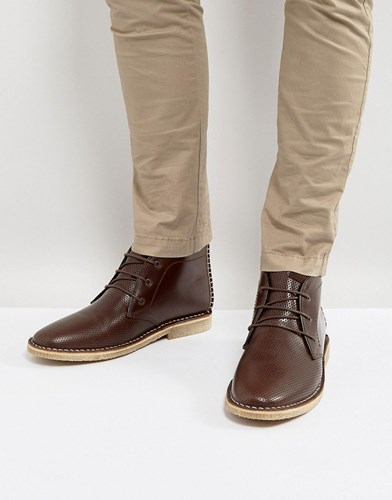 Asos Leather Brown Brown Detail Boots In Desert With Perforated 16wFr1