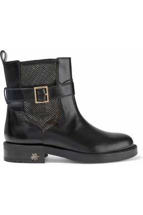 Charlotte Olympia Buckled Leather And Mesh Ankle Boots Black 46lUb4hh7