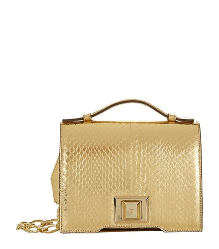 Andrew Gn Mini Brief Snakeskin Cross Body Bag Gold K5UNtAdoN5