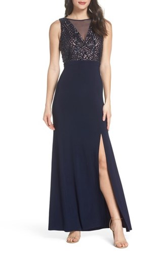 Morgan & Co. Sequin Bodice Illusion Neck Gown Navy Nude JyaiSZWdhp