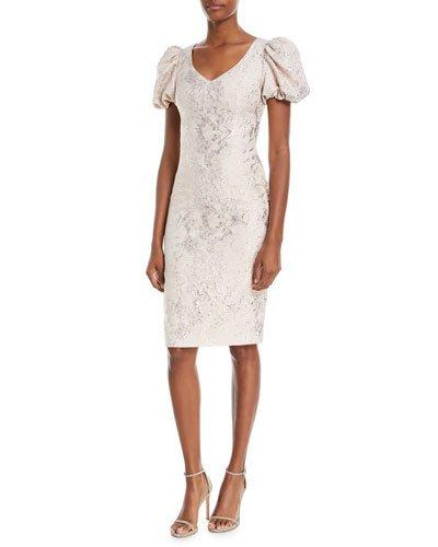 Theia V Neck Puff Sleeve Tissue Weight Cocktail Dress Nude Shimmer XMPDqgV