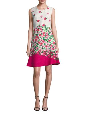 Karl Lagerfeld Floral Flare Dress Peony lO4Kt